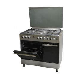 Mika Standing Cooker, 90cm X 60cm, 4 + 2, Electric Oven, Silver
