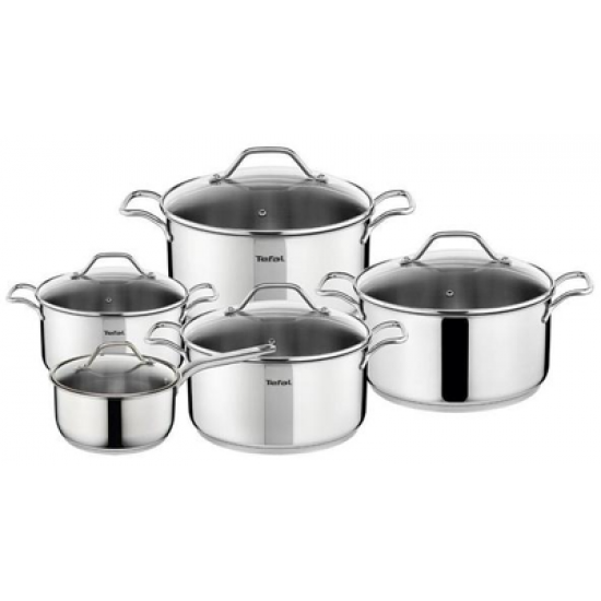 Tefal Intuition Stainless Steel 10pc Cookware Set