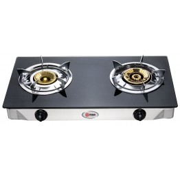 Gas Stove, Table Top, Glass Top, Black, Double Burner
