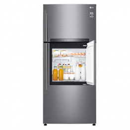 LG  GN-A702HLHU 530L-18.72 qft Double Door Fridge - Shiny Silver