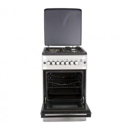 Mika Standing Cooker, 50cm X 55cm, 3 + 1, Electric Oven, Silver