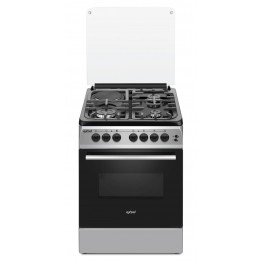 Exzel Grey/Black, 3 Gas + 1 Electric, Electric Oven