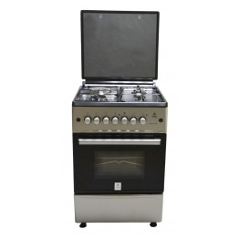 Mika Standing Cooker, 60cm X 60cm, 3 + 1, Electric Oven, Silver