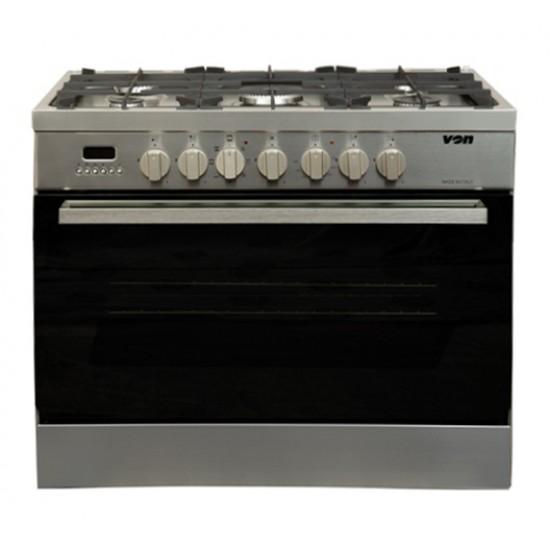 Von Professional 5 Gas Cooker Stainless Steel VAC9B502X