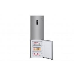 Gross 374(L) Net 341(L) Bottom Freezer Refrigerator, Shiny Steel, Inverter Linear Compressor   LINEAR Cooling™   Smart ThinQ™