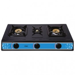 Mika Gas Stove, Table Top, Nonstick, 3 Burner