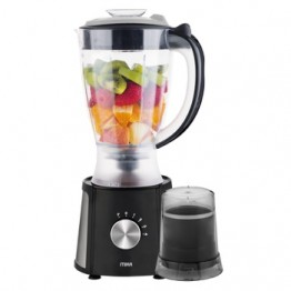 Mika 2 in 1 Blender, 1.5L, 400W, With Grinder, Black with Stainless Steel Sides & Chrome Control knob