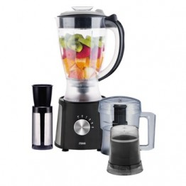 Mika 3 in 1 Blender, 1.5L, 400W, With Grinder, Chopper & Stainless Steel Filter, Black & Chrome Control knob