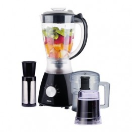 Mika 3 in 1 Blender, 1.5L, 400W, With Grinder, Chopper & Stainless Steel Filter, Black with Stainless Steel Sides & Chrome Control knob
