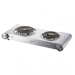 Mika Hot Plate, Double, 1500W & 750W, Stainless steel